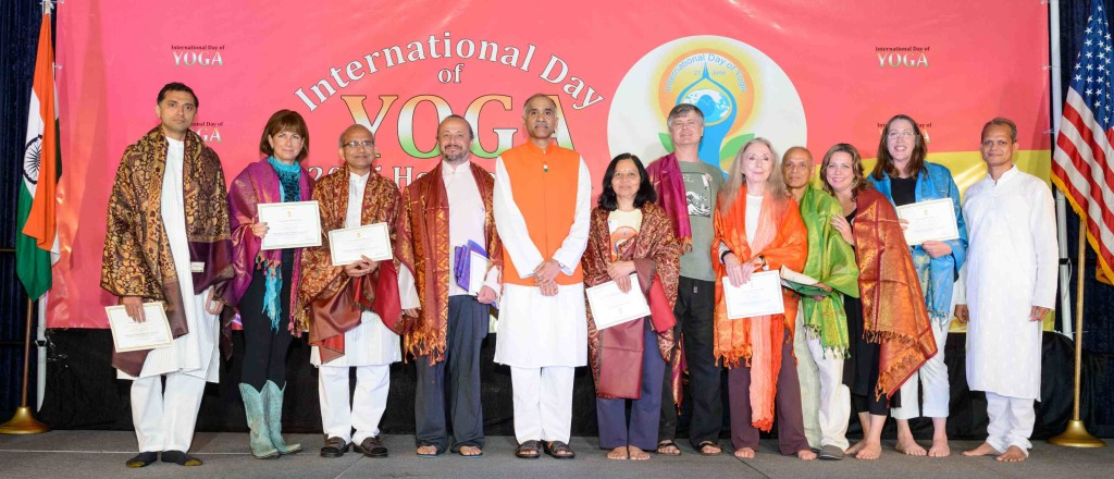 Recipients of Yoga Service Awards from the Consul General of India